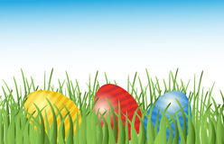 Easter background with eggs in grass Stock Images