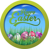 Easter background with eggs in the grass on round frame. Illustration of Easter background with eggs in the grass on round frame Royalty Free Stock Photo