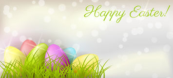 Easter background with eggs in grass Royalty Free Stock Image