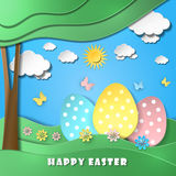 Easter background with eggs in grass. Vector illustration Royalty Free Stock Photography