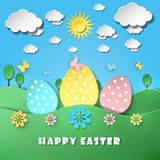 Easter background with eggs in grass. Vector illustration Royalty Free Stock Photos