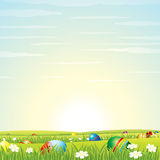 Easter Background. Eggs in Green Grass. Vector Stock Images