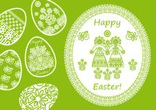 Easter background with eggs and lacy napkin Royalty Free Stock Images