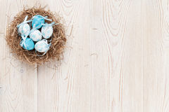 Easter background with eggs in nest Stock Photos