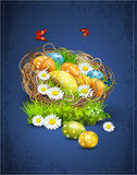 Easter background with eggs and nest Stock Photo