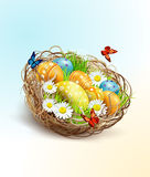 Easter background with eggs and nest Royalty Free Stock Images