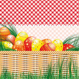 Easter background with eggs and picnic motives. Illustration for your design Stock Image
