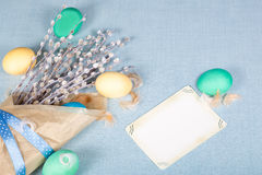 Easter background with eggs, pussy-willow and retro card Royalty Free Stock Photo