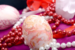Easter background with eggs, ribbons and spring decoration Royalty Free Stock Photos