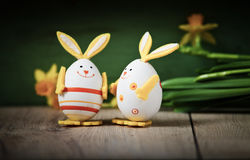 easter background with eggs Stock Images