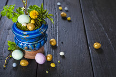 Easter background with eggs and spring flowers Stock Image