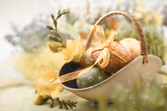 Easter background with eggs and spring flowers,. Shallow DOF, text space Royalty Free Stock Photo