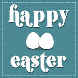 Easter background. Eggs and text  happy easter on blue sky color background Royalty Free Stock Photos