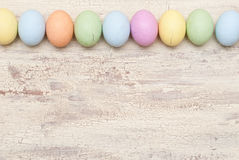 Easter background. Easter eggs on the wood Stock Image