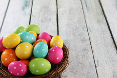 Easter background. Easter eggs on wood backgrpund Stock Photo