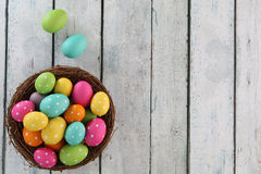 Easter background. Easter eggs on wood backgrpund Royalty Free Stock Image