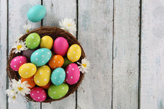 Easter background. Easter eggs on wood backgrpund Royalty Free Stock Photos