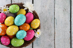 Easter background. Easter eggs on wood backgrpund Royalty Free Stock Images