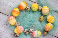 Easter background, Easter eggs. Stock Photo