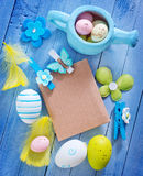 Easter background. Easter eggs on the wooden table, color eggs stock images