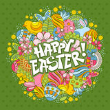 Easter background. Easter festive doodle background with elements of spring holidays Royalty Free Stock Photos