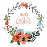 Easter background with flowers and eggs. stock illustration
