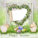 Easter background with frame for congratulations Stock Photo