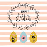 Easter background with frame and eggs. vector illustration