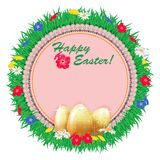 Easter background frame with embroidered napkin and golden eggs on a background of meadow grass with flowers of camomiles and dand Stock Images