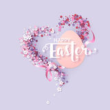 Easter background with frame flowers Royalty Free Stock Photos
