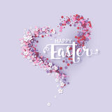 Easter background with frame flowers Stock Photo