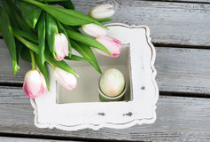 Easter Background With Framed  Eggcup Stock Image
