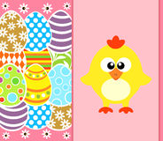 Easter background with funny chicken ,pink Royalty Free Stock Photography