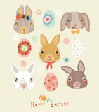 Easter background with funny rabbit and birds Stock Images