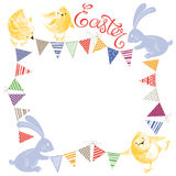 Easter background with garlands, chicks, Easter bunnies and plac Stock Photo