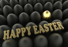 Easter background Golden and black eggs congratulation greeting Royalty Free Stock Photography