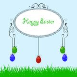 Easter background. With grass and colorfull eggs stock illustration