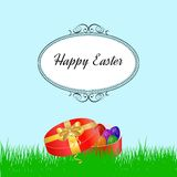Easter background with grass and colorfull eggs.  vector illustration