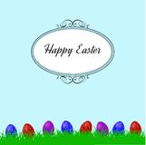 Easter background with grass and colorfull eggs Stock Images