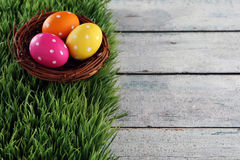 Easter background with grass. Easter eggs on wood backgrpund Royalty Free Stock Image