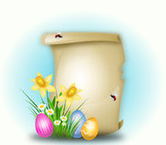 Easter background for greeting. Beautiful easter background with parchment and easter eggs Royalty Free Stock Photos