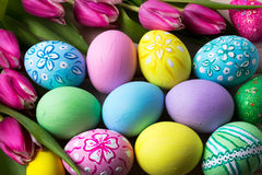 Easter background with hand painted eggs Royalty Free Stock Photography