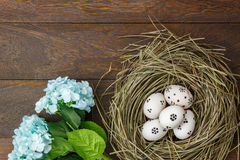 Easter background.Happy easter eggs pained on nest also. Top view easter background.Happy easter eggs pained on nest also beautiful flower.Texture rustic wooden Royalty Free Stock Photography