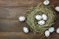 Easter background.Happy easter eggs pained on nest.Text. Top view easter background.Happy easter eggs pained on nest.Texture rustic wooden with decorations and Stock Image