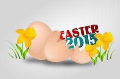 Easter 2015 background. Illustration of easter background with two eggs and one of them is broken decorated with daffodil Royalty Free Stock Images