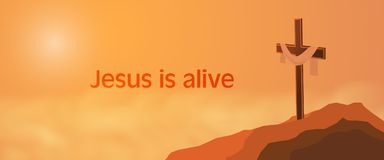 Easter background - Jesus is alive. Cross on rocks with shroud and text : Jesus is alive Stock Photos