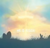 Easter Background With Jesus And Cross Stock Photos
