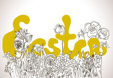 Easter background with lettering and wild flowers Royalty Free Stock Photos