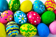 Easter background of multicolored Easter eggs Royalty Free Stock Photos