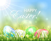 Easter background with multicolored eggs Stock Images